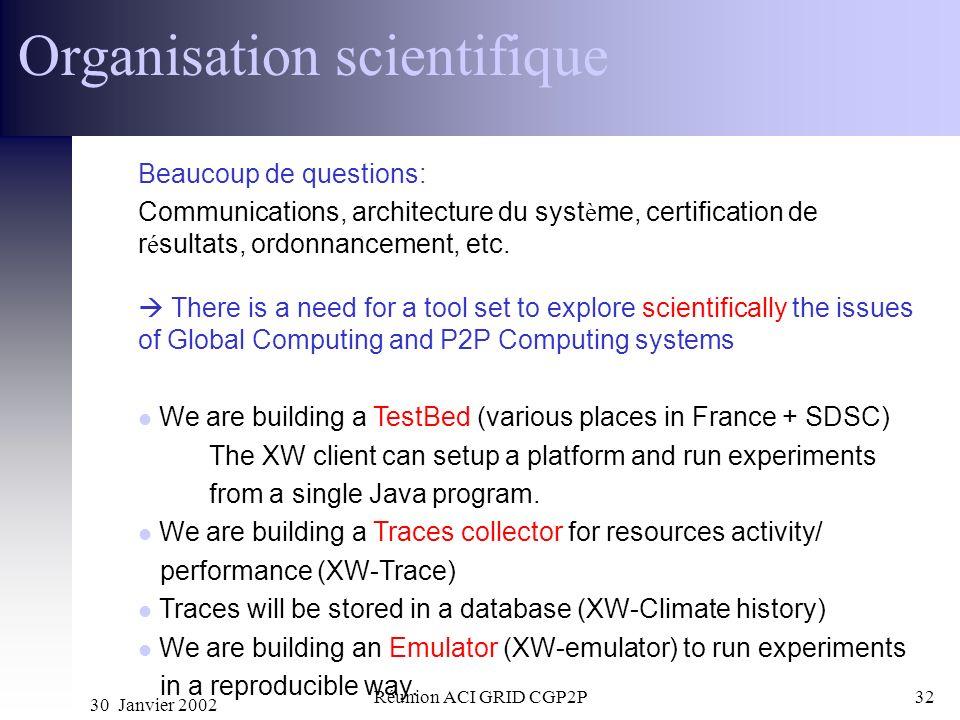 30 Janvier 2002 Réunion ACI GRID CGP2P32 Organisation scientifique Beaucoup de questions: Communications, architecture du syst è me, certification de