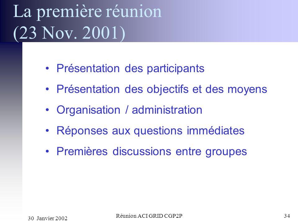 30 Janvier 2002 Réunion ACI GRID CGP2P34 La première réunion (23 Nov. 2001) Présentation des participants Présentation des objectifs et des moyens Org