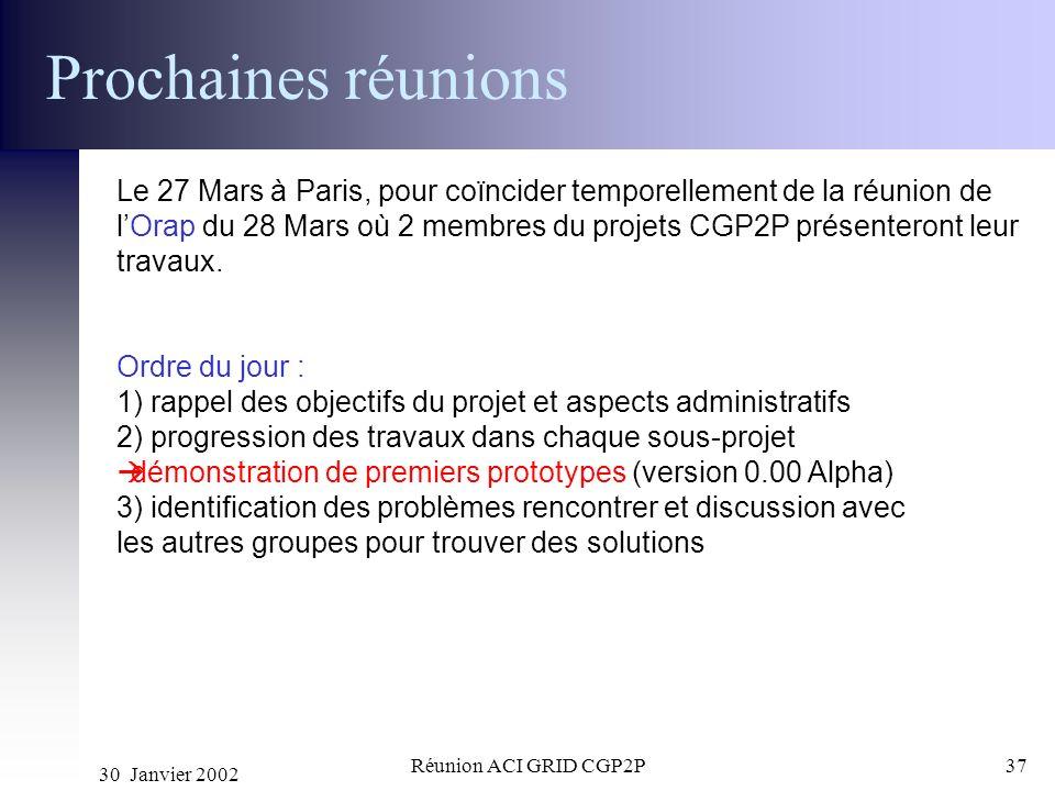 30 Janvier 2002 Réunion ACI GRID CGP2P37 Prochaines réunions Le 27 Mars à Paris, pour coïncider temporellement de la réunion de lOrap du 28 Mars où 2