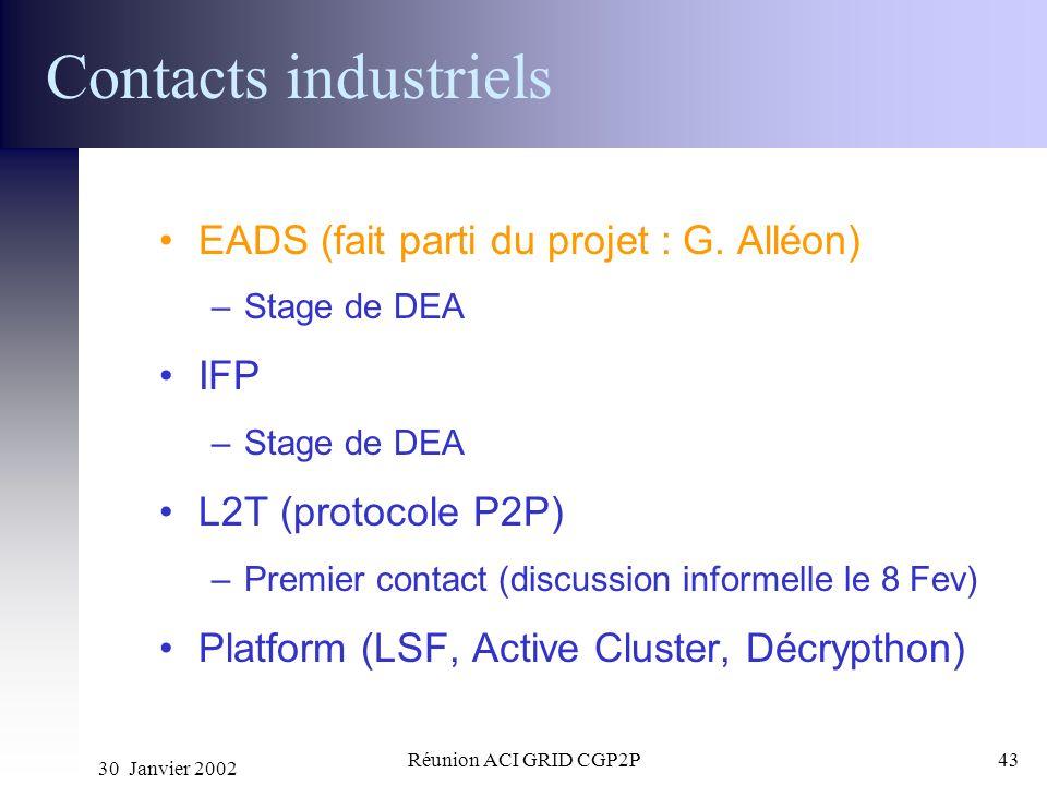 30 Janvier 2002 Réunion ACI GRID CGP2P43 Contacts industriels EADS (fait parti du projet : G. Alléon) –Stage de DEA IFP –Stage de DEA L2T (protocole P