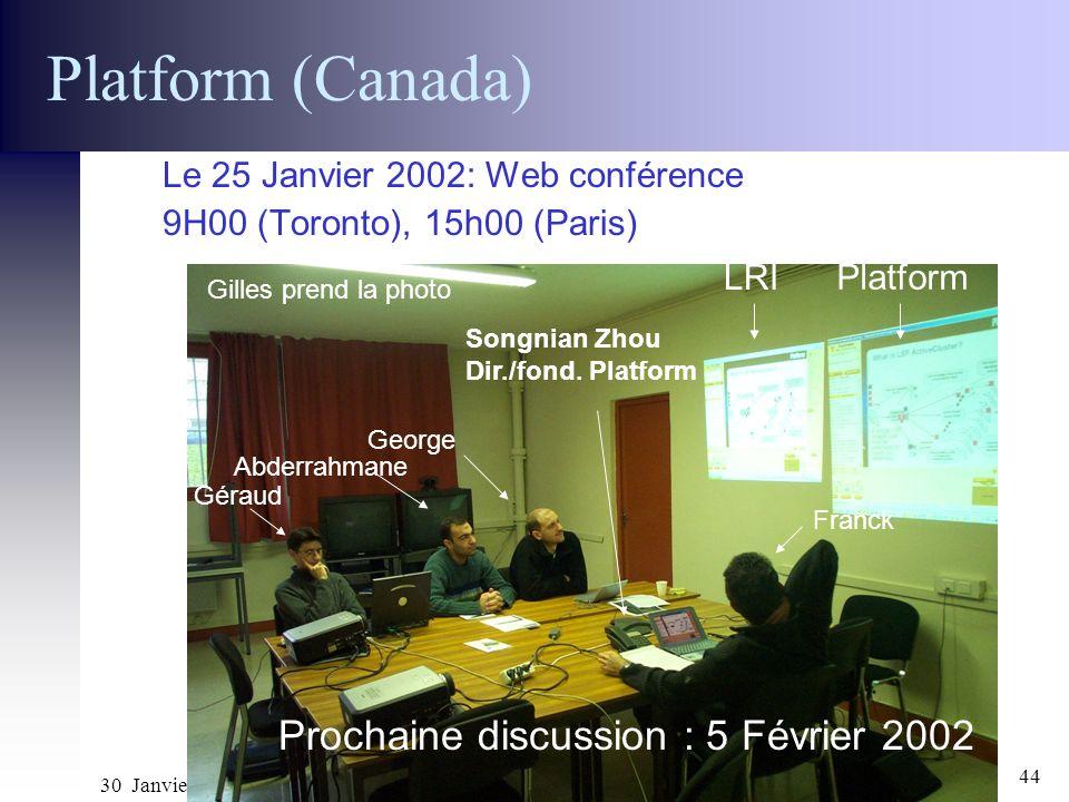 30 Janvier 2002 Réunion ACI GRID CGP2P44 Platform (Canada) Le 25 Janvier 2002: Web conférence 9H00 (Toronto), 15h00 (Paris) Prochaine discussion : 5 F