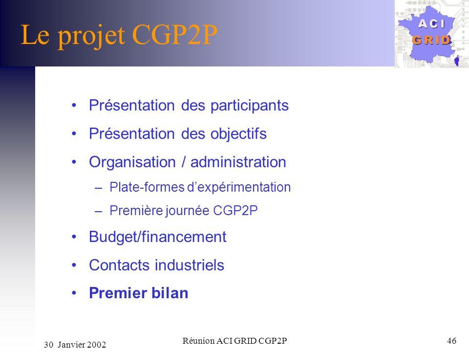 30 Janvier 2002 Réunion ACI GRID CGP2P46 Le projet CGP2P Présentation des participants Présentation des objectifs Organisation / administration –Plate