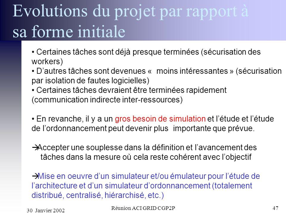 30 Janvier 2002 Réunion ACI GRID CGP2P47 Evolutions du projet par rapport à sa forme initiale Certaines tâches sont déjà presque terminées (sécurisati