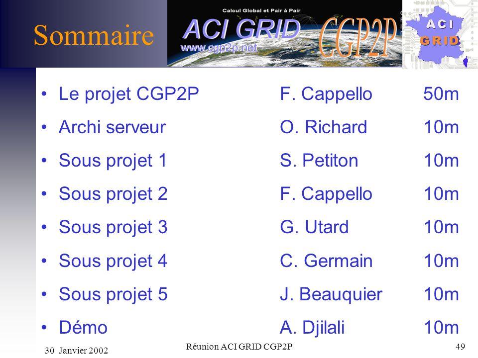 30 Janvier 2002 Réunion ACI GRID CGP2P49 Sommaire Le projet CGP2P F. Cappello 50m Archi serveurO. Richard10m Sous projet 1S. Petiton 10m Sous projet 2