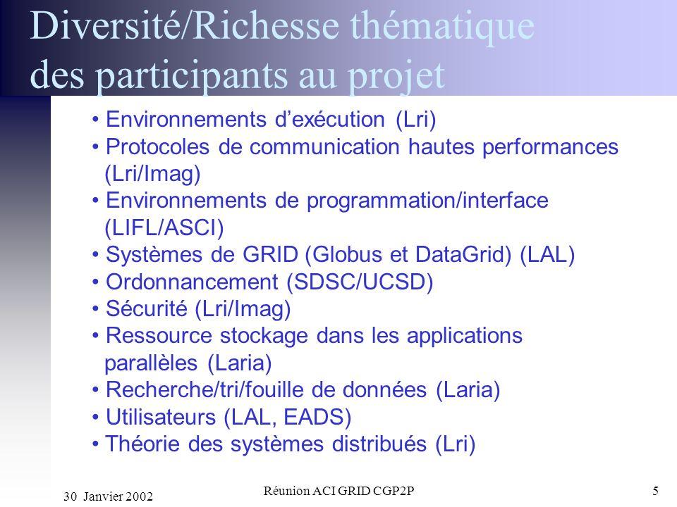 30 Janvier 2002 Réunion ACI GRID CGP2P5 Diversité/Richesse thématique des participants au projet Environnements dexécution (Lri) Protocoles de communi