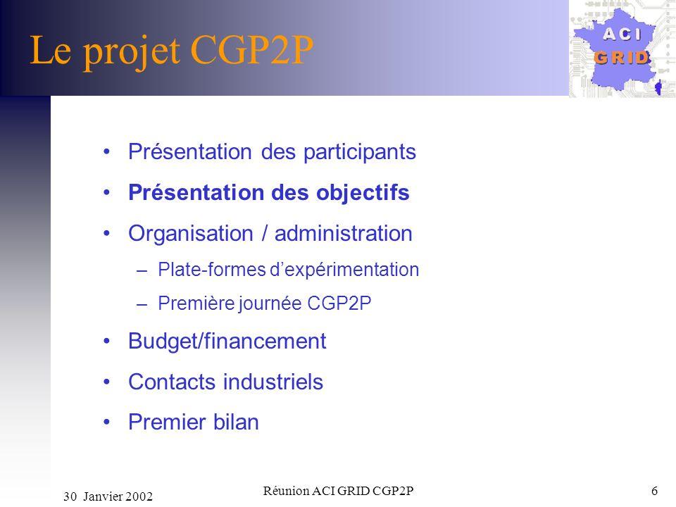 30 Janvier 2002 Réunion ACI GRID CGP2P6 Le projet CGP2P Présentation des participants Présentation des objectifs Organisation / administration –Plate-