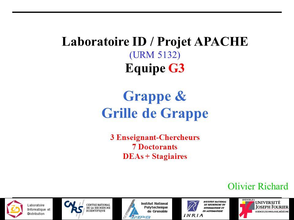 22-11-2001 Journée projet CGP2P Laboratoire ID / Projet APACHE (URM 5132) Equipe G3 Grappe & Grille de Grappe 3 Enseignant-Chercheurs 7 Doctorants DEAs + Stagiaires Olivier Richard