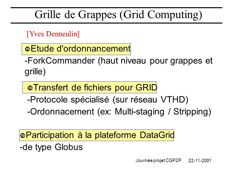 22-11-2001 Journée projet CGP2P Grille de Grappes (Grid Computing) Etude d ordonnancement -ForkCommander (haut niveau pour grappes et grille) Transfert de fichiers pour GRID -Protocole spécialisé (sur réseau VTHD) -Ordonnacement (ex: Multi-staging / Stripping) Participation à la plateforme DataGrid -de type Globus [Yves Denneulin]