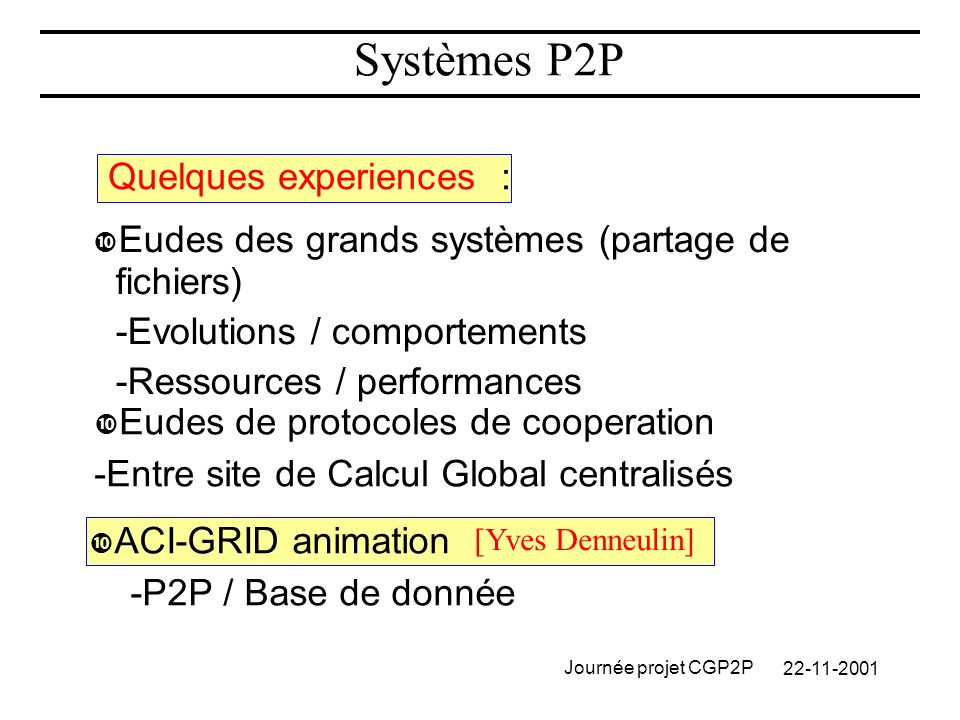 Journée projet CGP2P Systèmes P2P Quelques experiences : Eudes des grands systèmes (partage de fichiers) -Evolutions / comportements -Ressources / performances Eudes de protocoles de cooperation -Entre site de Calcul Global centralisés ACI-GRID animation -P2P / Base de donnée [Yves Denneulin]