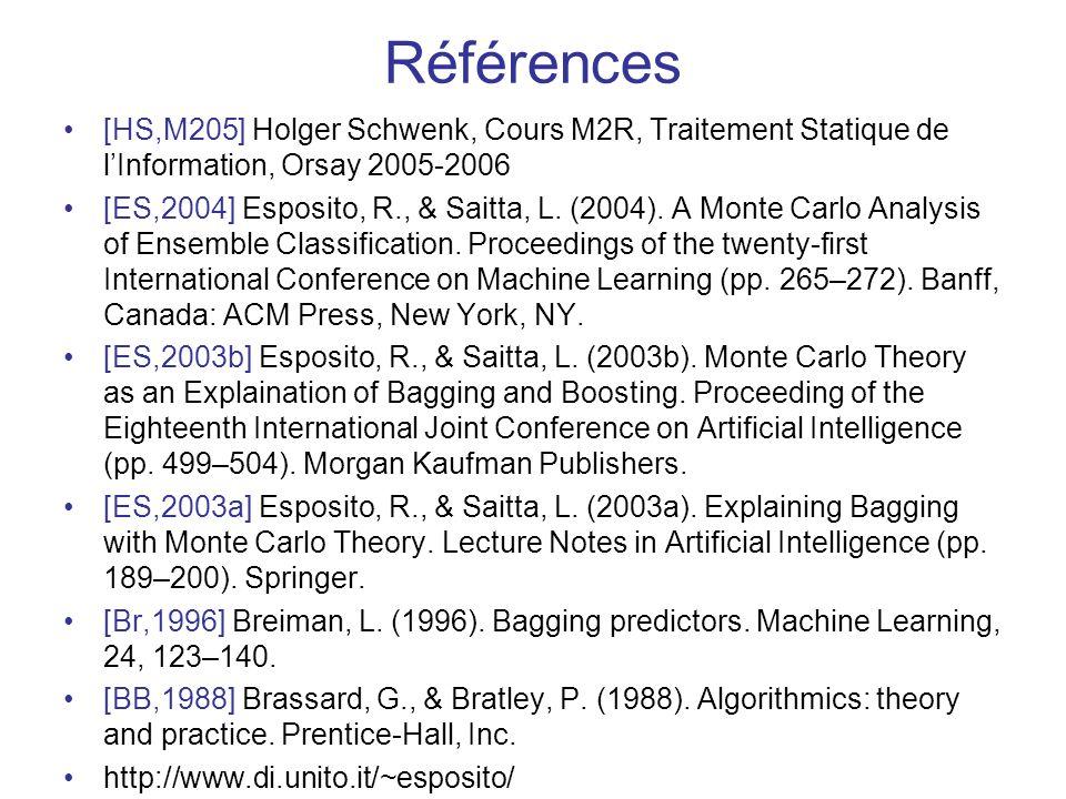 Références [HS,M205] Holger Schwenk, Cours M2R, Traitement Statique de lInformation, Orsay 2005-2006 [ES,2004] Esposito, R., & Saitta, L.
