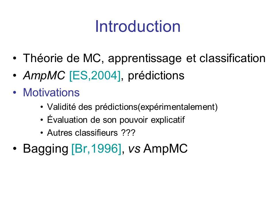 Introduction Théorie de MC, apprentissage et classification AmpMC [ES,2004], prédictions Motivations Validité des prédictions(expérimentalement) Évaluation de son pouvoir explicatif Autres classifieurs ??.