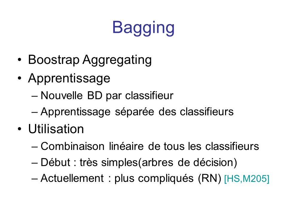 Bagging Boostrap Aggregating Apprentissage –Nouvelle BD par classifieur –Apprentissage séparée des classifieurs Utilisation –Combinaison linéaire de tous les classifieurs –Début : très simples(arbres de décision) –Actuellement : plus compliqués (RN) [HS,M205]