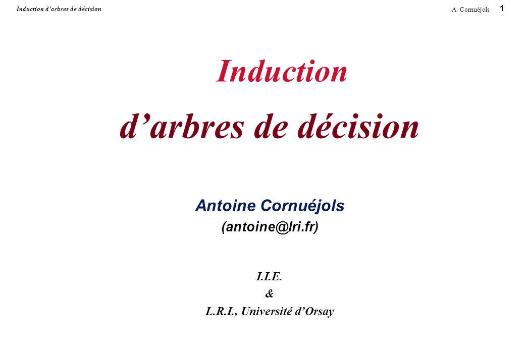 1 A. Cornuéjols Induction darbres de décision Induction darbres de décision Antoine Cornuéjols (antoine@lri.fr) I.I.E. & L.R.I., Université dOrsay