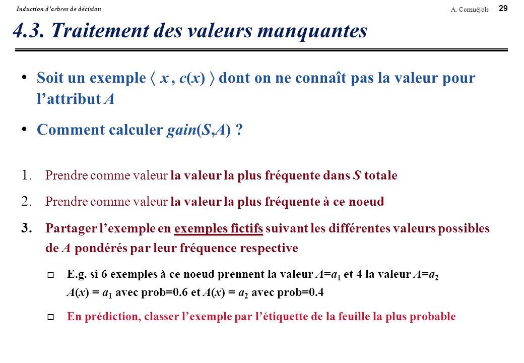 29 A. Cornuéjols Induction darbres de décision 4.3. Traitement des valeurs manquantes Soit un exemple x, c(x) dont on ne connaît pas la valeur pour la