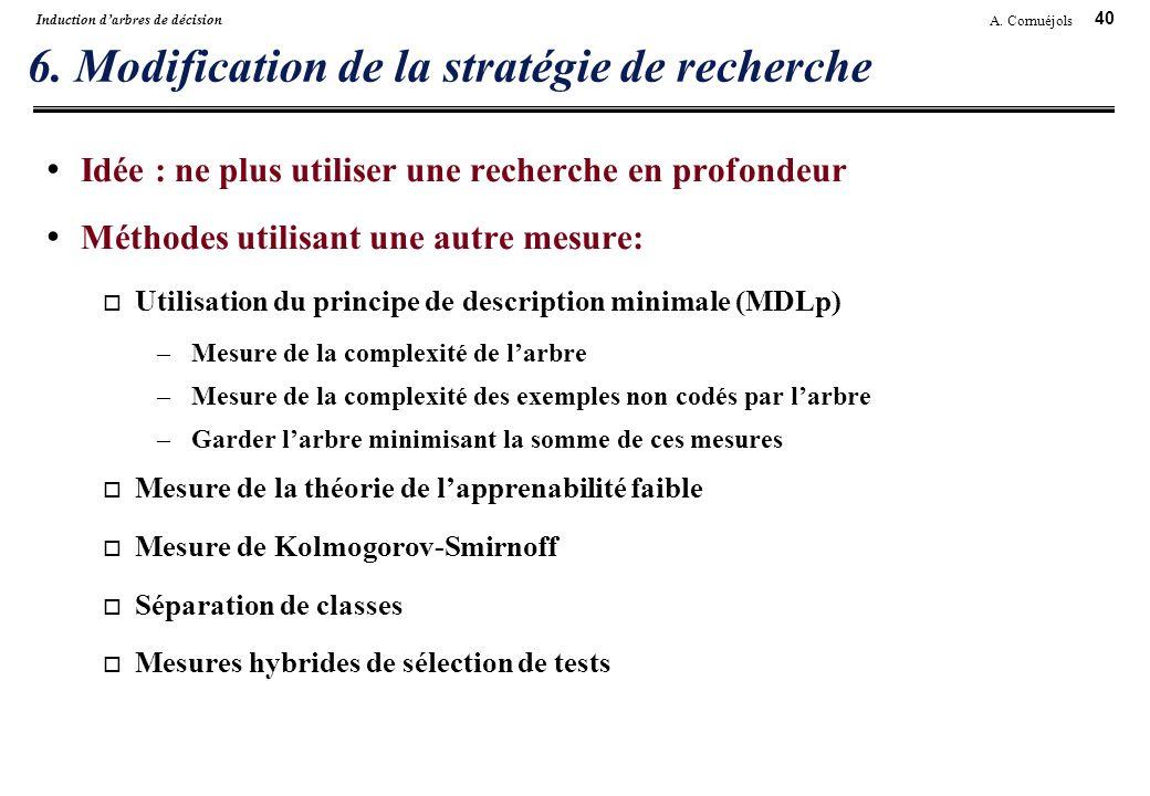 40 A. Cornuéjols Induction darbres de décision 6. Modification de la stratégie de recherche Idée : ne plus utiliser une recherche en profondeur Méthod