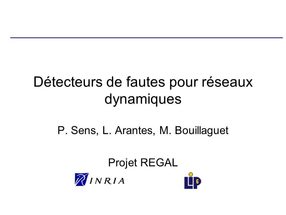 Détecteurs de fautes pour réseaux dynamiques P. Sens, L. Arantes, M. Bouillaguet Projet REGAL