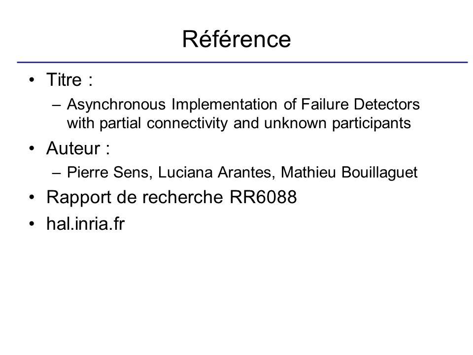 Référence Titre : –Asynchronous Implementation of Failure Detectors with partial connectivity and unknown participants Auteur : –Pierre Sens, Luciana
