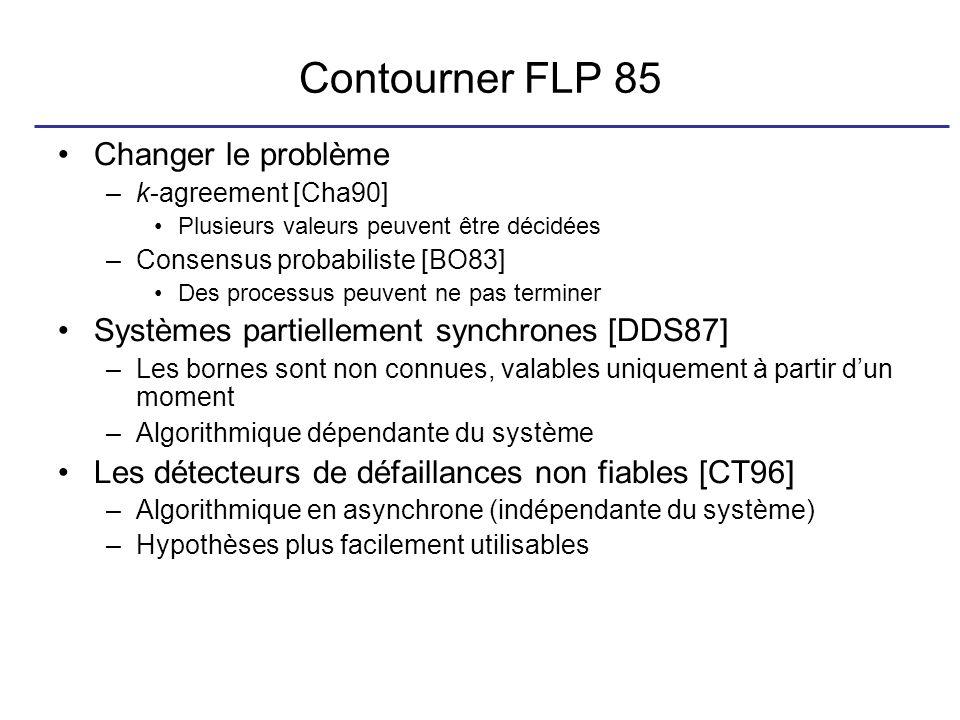 Contourner FLP 85 Changer le problème –k-agreement [Cha90] Plusieurs valeurs peuvent être décidées –Consensus probabiliste [BO83] Des processus peuvent ne pas terminer Systèmes partiellement synchrones [DDS87] –Les bornes sont non connues, valables uniquement à partir dun moment –Algorithmique dépendante du système Les détecteurs de défaillances non fiables [CT96] –Algorithmique en asynchrone (indépendante du système) –Hypothèses plus facilement utilisables