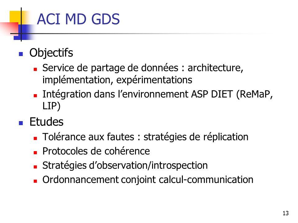 13 ACI MD GDS Objectifs Service de partage de données : architecture, implémentation, expérimentations Intégration dans lenvironnement ASP DIET (ReMaP