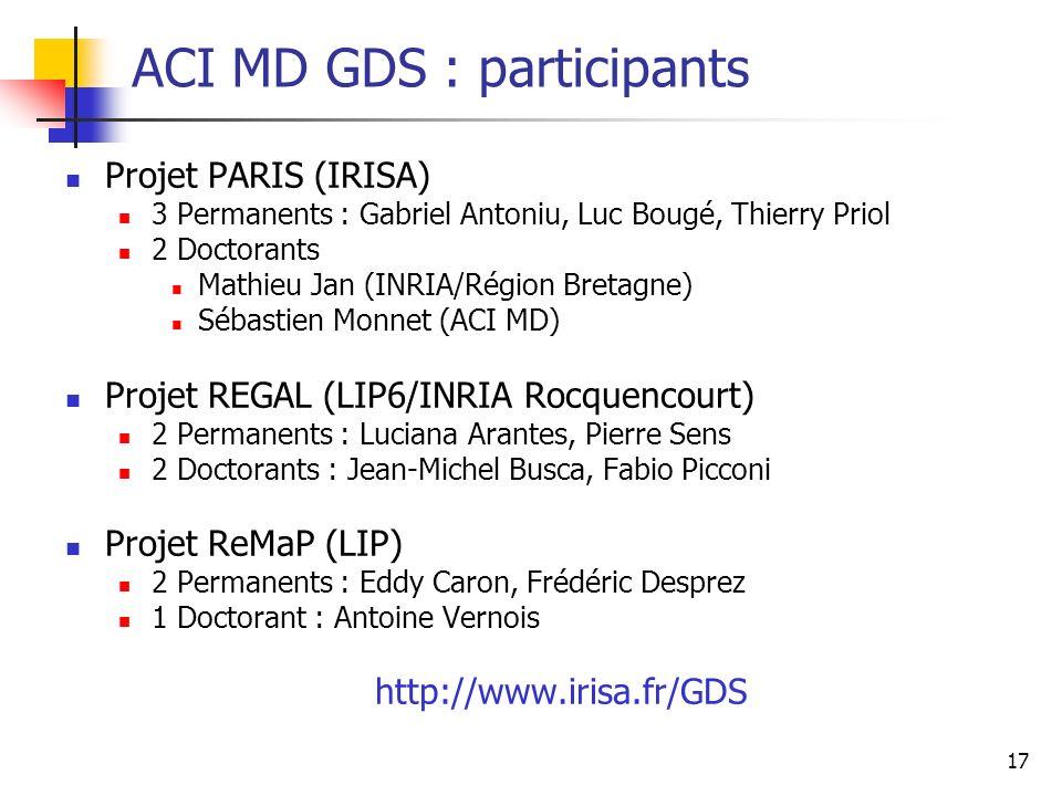 17 ACI MD GDS : participants Projet PARIS (IRISA) 3 Permanents : Gabriel Antoniu, Luc Bougé, Thierry Priol 2 Doctorants Mathieu Jan (INRIA/Région Bret