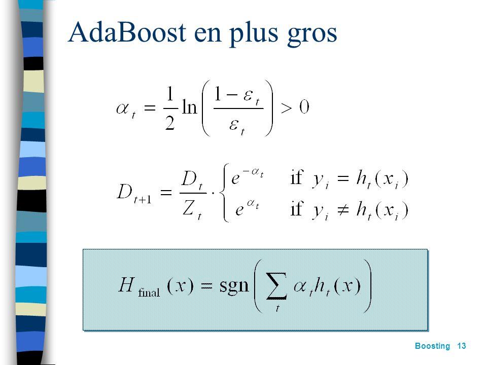 Boosting 12 AdaBoost [Freund&Schapire 97] construire D t : Étant donnée D t et h t : où: Z t = constante de normalisation Hypothèse finale :