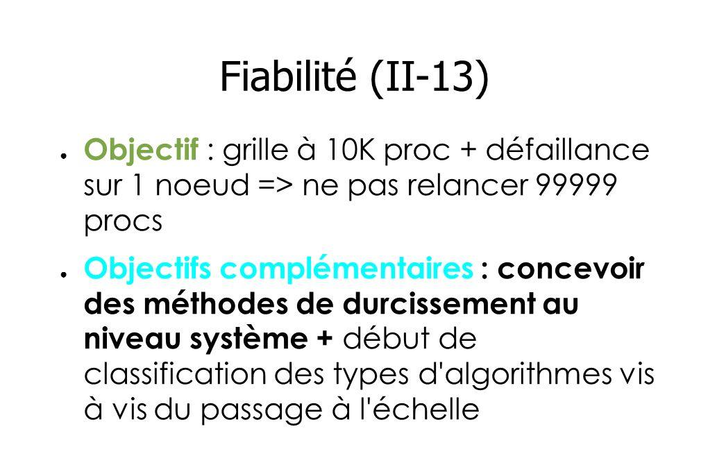 Fiabilité (II-13) Objectif : grille à 10K proc + défaillance sur 1 noeud => ne pas relancer 99999 procs Objectifs complémentaires : concevoir des méthodes de durcissement au niveau système + début de classification des types d algorithmes vis à vis du passage à l échelle