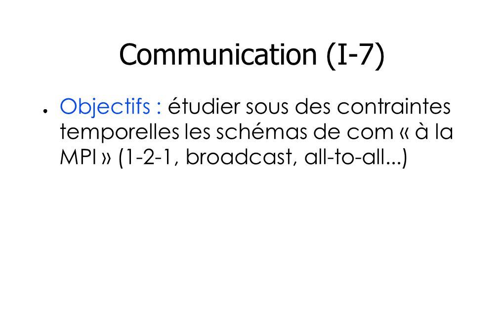 Communication (I-7) Objectifs : étudier sous des contraintes temporelles les schémas de com « à la MPI » (1-2-1, broadcast, all-to-all...)