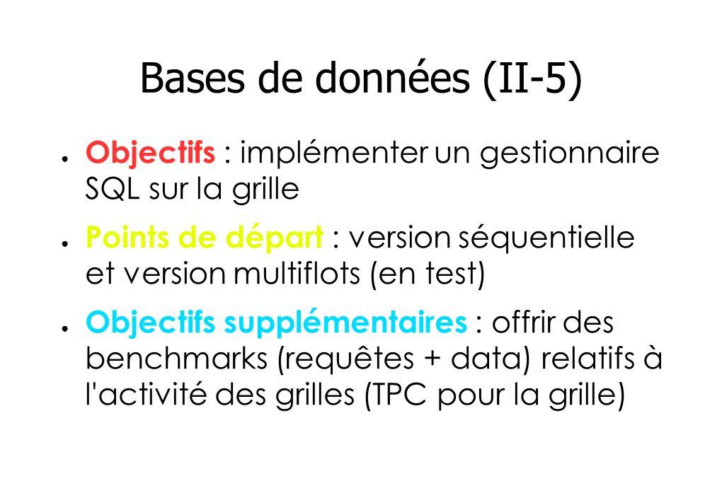 Bases de données (II-5) Objectifs : implémenter un gestionnaire SQL sur la grille Points de départ : version séquentielle et version multiflots (en test) Objectifs supplémentaires : offrir des benchmarks (requêtes + data) relatifs à l activité des grilles (TPC pour la grille)
