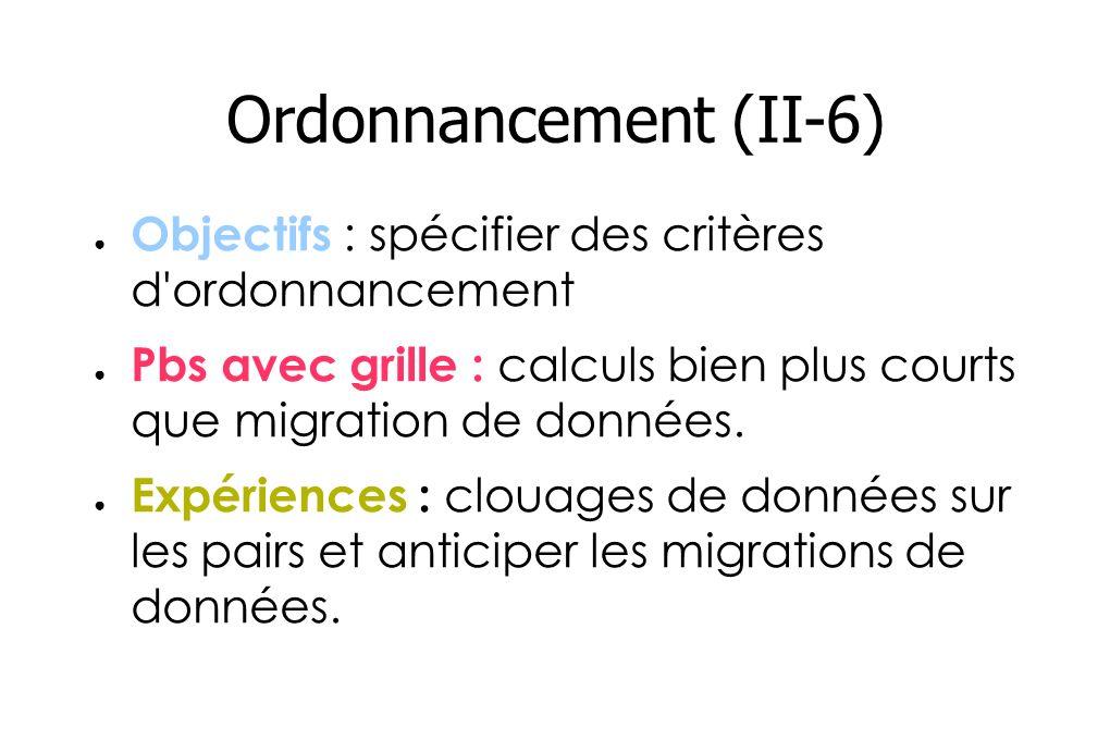 Ordonnancement (II-6) Objectifs : spécifier des critères d ordonnancement Pbs avec grille : calculs bien plus courts que migration de données.