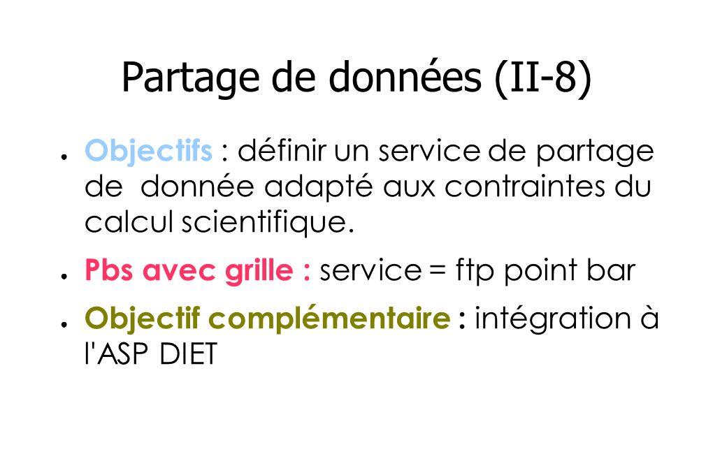 Partage de données (II-8) Objectifs : définir un service de partage de donnée adapté aux contraintes du calcul scientifique.