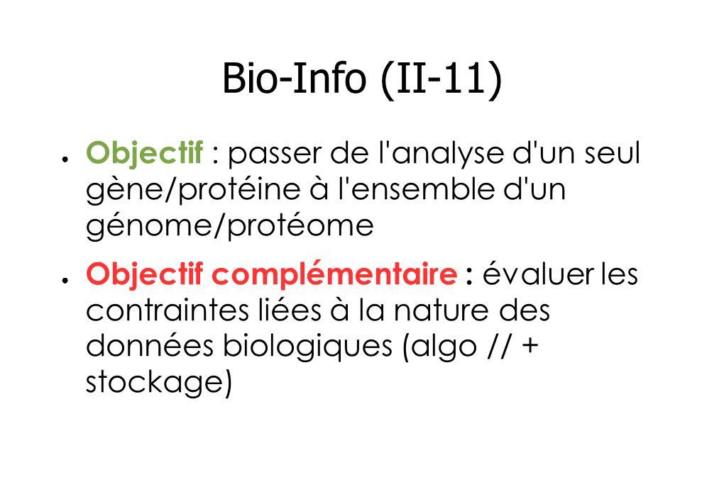Bio-Info (II-11) Objectif : passer de l analyse d un seul gène/protéine à l ensemble d un génome/protéome Objectif complémentaire : évaluer les contraintes liées à la nature des données biologiques (algo // + stockage)