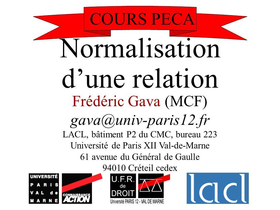Normalisation dune relation Frédéric Gava (MCF) gava@univ-paris12.fr LACL, bâtiment P2 du CMC, bureau 223 Université de Paris XII Val-de-Marne 61 aven