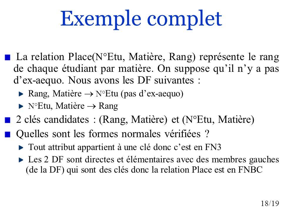 18/19 Exemple complet La relation Place( N° Etu, Matière, Rang) représente le rang de chaque étudiant par matière. On suppose quil ny a pas dex-aequo.