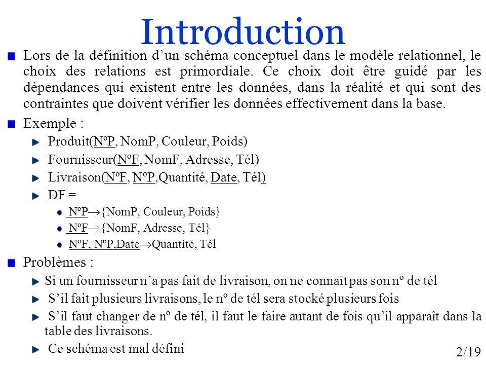 2/19 Introduction Lors de la définition dun schéma conceptuel dans le modèle relationnel, le choix des relations est primordiale. Ce choix doit être g