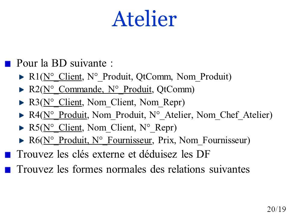20/19 Atelier Pour la BD suivante : R1(N°_Client, N°_Produit, QtComm, Nom_Produit) R2(N°_Commande, N°_Produit, QtComm) R3(N°_Client, Nom_Client, Nom_R