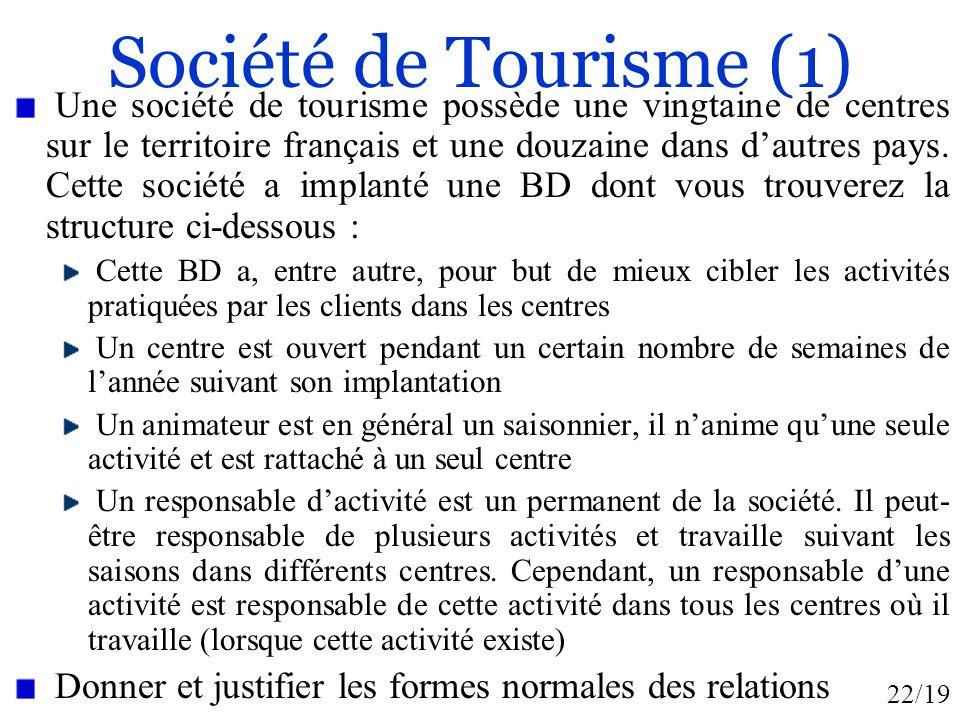 22/19 Société de Tourisme (1) Une société de tourisme possède une vingtaine de centres sur le territoire français et une douzaine dans dautres pays. C