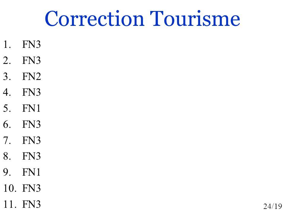 24/19 Correction Tourisme 1. FN3 2. FN3 3. FN2 4. FN3 5. FN1 6. FN3 7. FN3 8. FN3 9. FN1 10. FN3 11. FN3