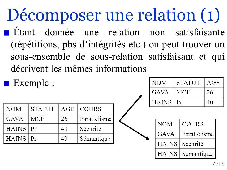 4/19 Décomposer une relation (1) Étant donnée une relation non satisfaisante (répétitions, pbs dintégrités etc.) on peut trouver un sous-ensemble de s