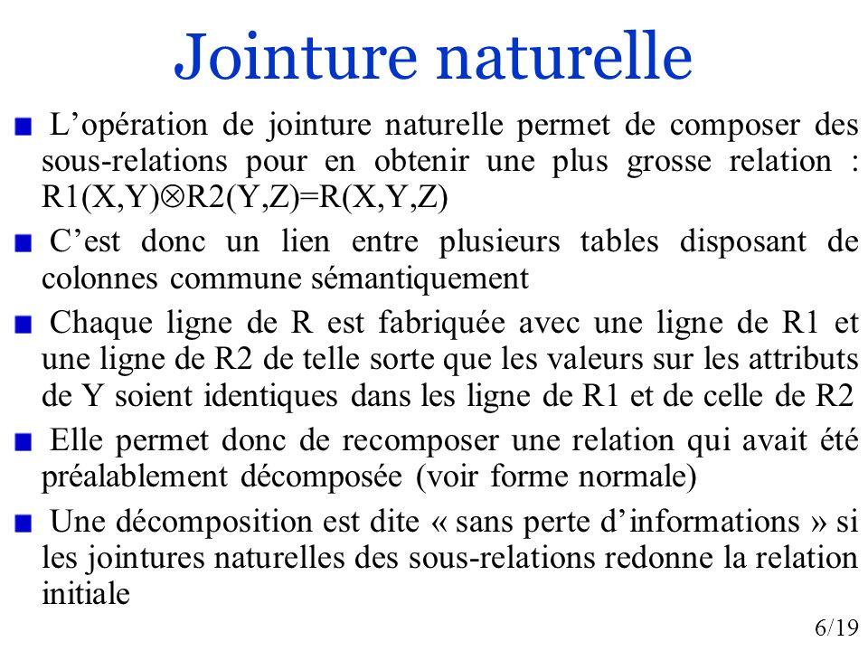 6/19 Jointure naturelle Lopération de jointure naturelle permet de composer des sous-relations pour en obtenir une plus grosse relation : R1(X,Y) R2(Y