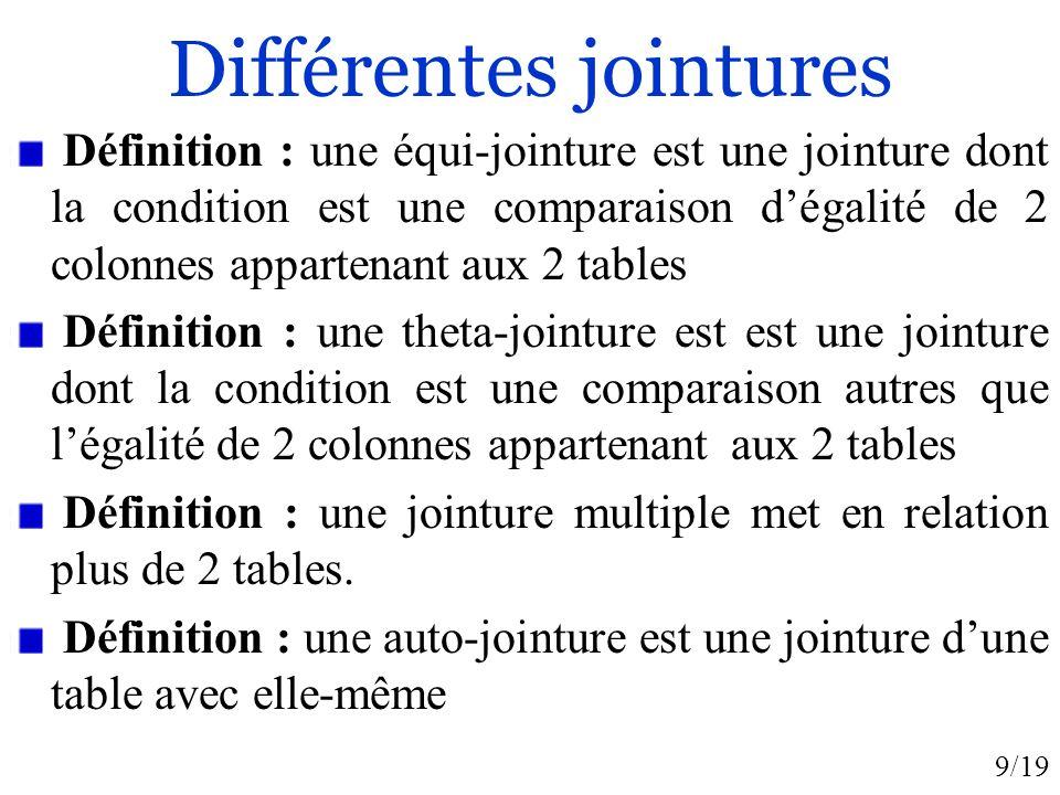 9/19 Différentes jointures Définition : une équi-jointure est une jointure dont la condition est une comparaison dégalité de 2 colonnes appartenant au