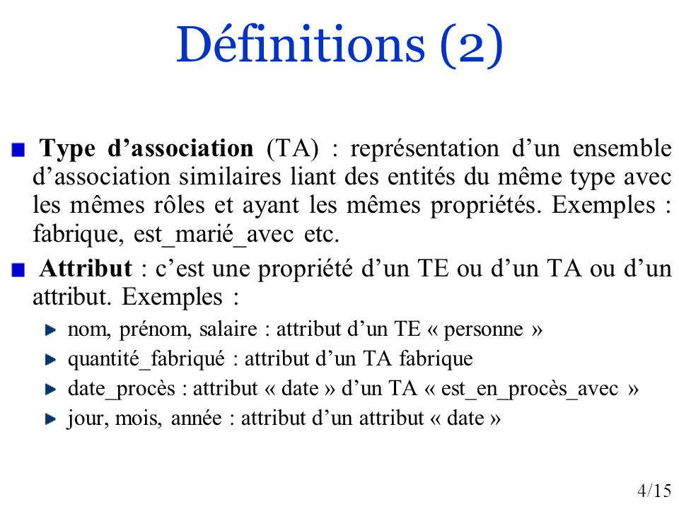4/15 Définitions (2) Type dassociation (TA) : représentation dun ensemble dassociation similaires liant des entités du même type avec les mêmes rôles