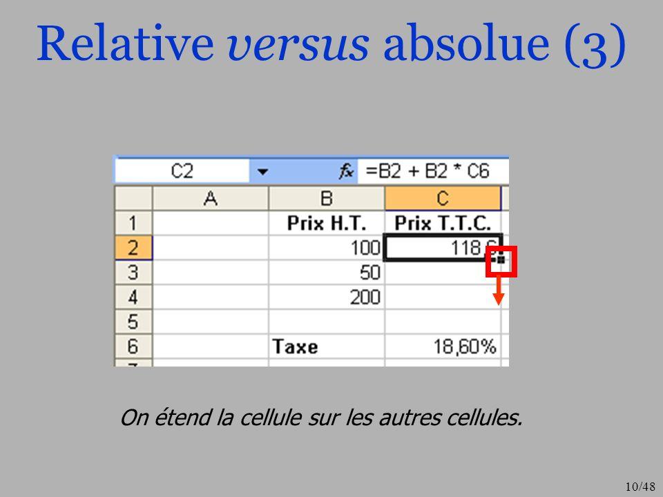10/48 Relative versus absolue (3) On étend la cellule sur les autres cellules.