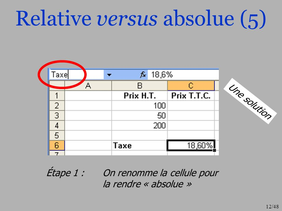 12/48 Relative versus absolue (5) Étape 1 : On renomme la cellule pour la rendre « absolue » Une solution