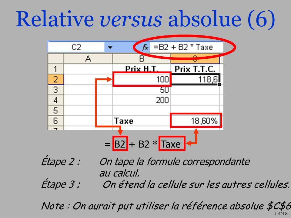 14/48 Opérateurs classiques (1) arithmétiques : + Addition3 + 4ouA3 + B5 - Soustraction 2 – 1ou A4 – B7 *Multiplication3 * 4ou A5 * B8 /Division10 / 5 ou A1 / B7 ^Puissance2 ^ 3 (2*2*2) ou A1 ^ B7 de comparaison : Inférieur et Supérieur =Inférieur ou égal et Supérieur ou égal = et <>Égal et Différent (non égal) Exemple: A3 >= 100