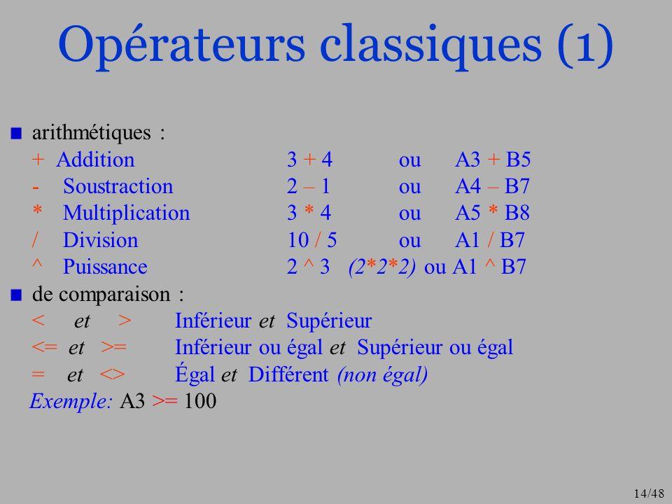 14/48 Opérateurs classiques (1) arithmétiques : + Addition3 + 4ouA3 + B5 - Soustraction 2 – 1ou A4 – B7 *Multiplication3 * 4ou A5 * B8 /Division10 / 5