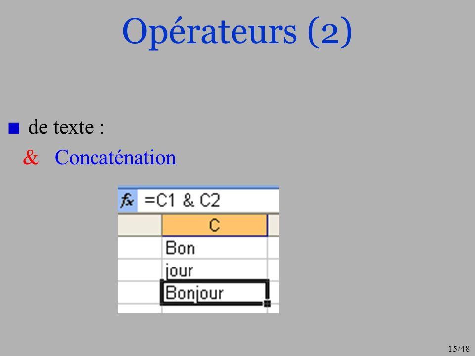 15/48 Opérateurs (2) de texte : & Concaténation