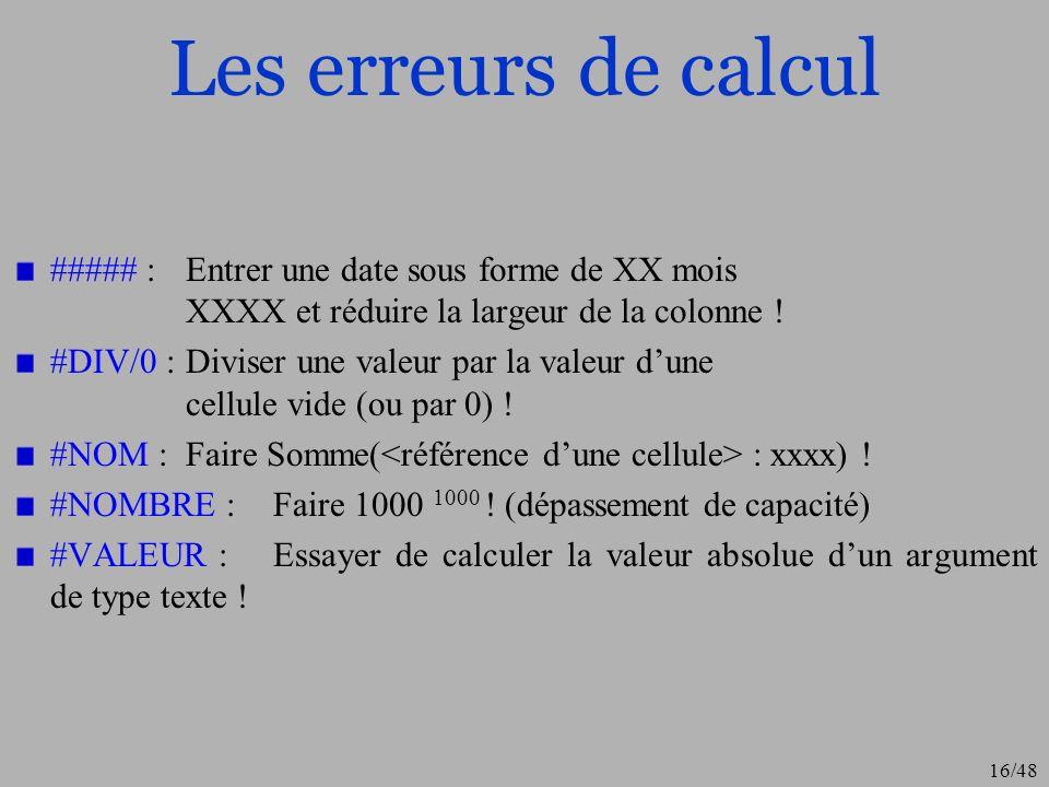 16/48 Les erreurs de calcul ##### : Entrer une date sous forme de XX mois XXXX et réduire la largeur de la colonne ! #DIV/0 :Diviser une valeur par la