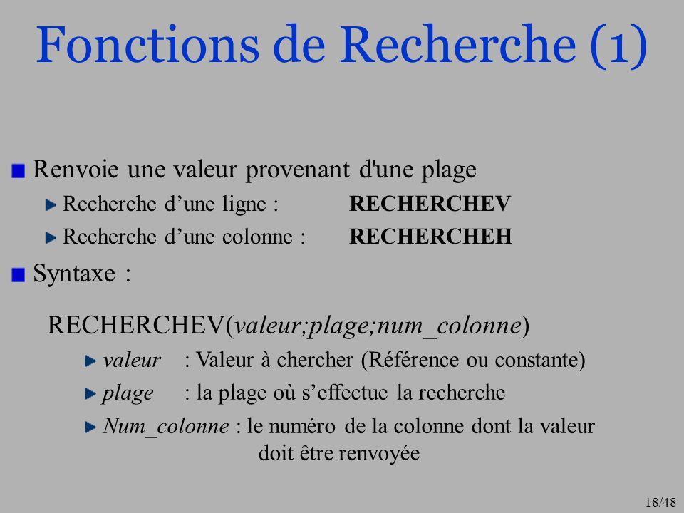 18/48 Fonctions de Recherche (1) Renvoie une valeur provenant d'une plage Recherche dune ligne : RECHERCHEV Recherche dune colonne : RECHERCHEH Syntax