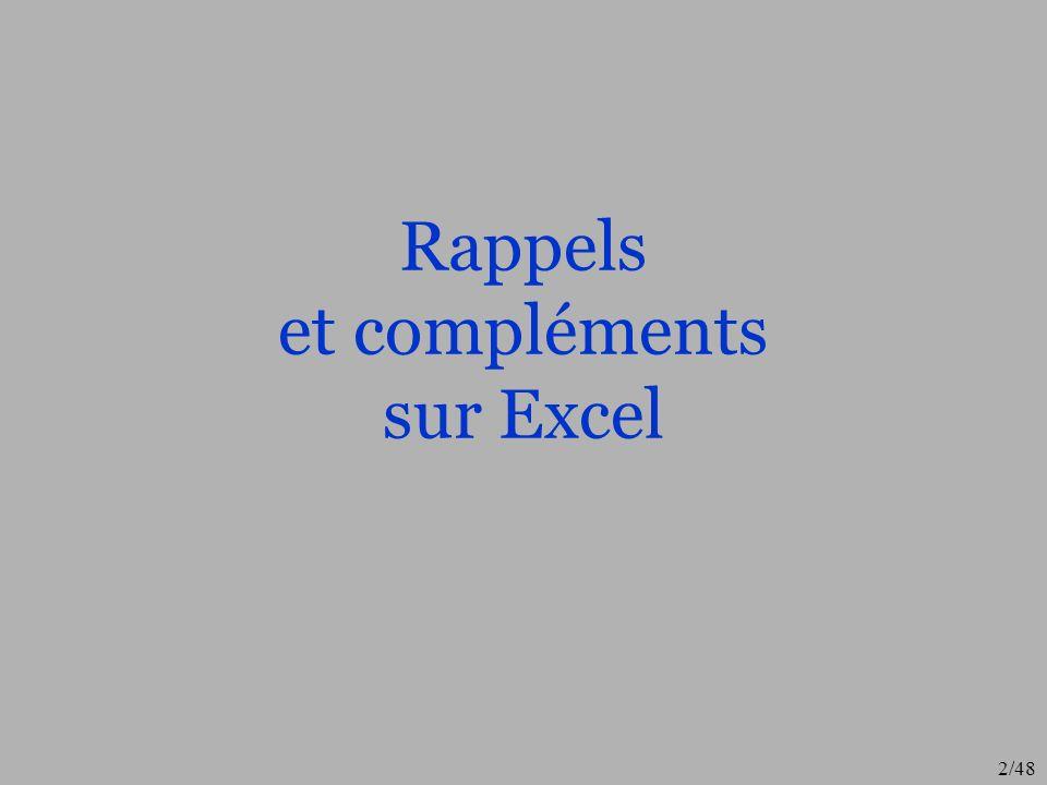 2/48 Rappels et compléments sur Excel