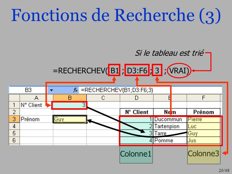 21/48 Autres recherches Index(tableau;no_lig;no_col) La fonction Index renvoie la donnée située à l intersection de la ligne et de la colonne du tableau (plage) de recherche.
